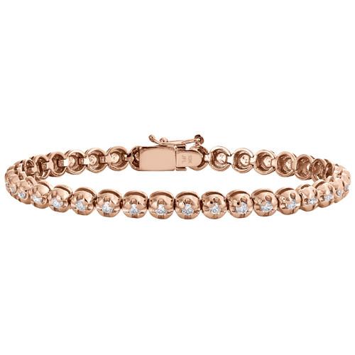 "10K Rose Gold Round Diamond Crown Set Solitaire Prong Set Bracelet 7"" | 2.07 CT."