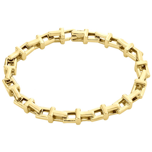 """10K Yellow Gold Fancy Link Italy Made Design T Initial Unisex Bracelet 7mm 