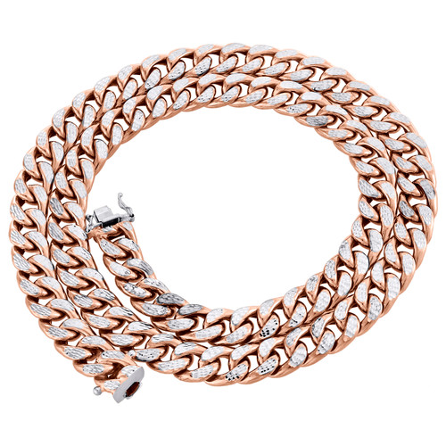 10K Rose Gold Diamond Cut Miami Cuban Link Chain 10.50mm Box Clasp 18-24 Inch
