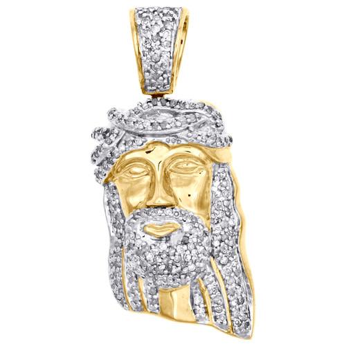 "10K Yellow Gold Diamond Jesus Face Pendant Pave Set Charm 1.20"" Long 0.38 CT."