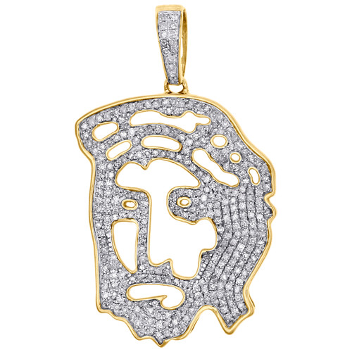 10K Yellow Gold Real Diamond Cut Out Jesus Face Pendant Pave Set Charm 1 CT.