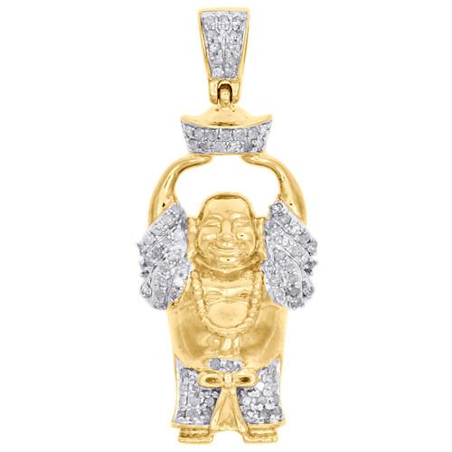 "10K Yellow Gold Diamond Happy Buddha Pendant Prosperity Charm 1.35"" 0.33 CT."