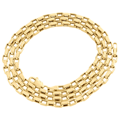 "Genuine 14K Yellow Gold Fancy Link Oval Square Chain 3.25mm Necklace 22"" and 24"""