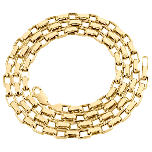 """Genuine 14K Yellow Gold Fancy Link Oval Rectangle Chain 4mm Necklace 24"""" and 26"""""""