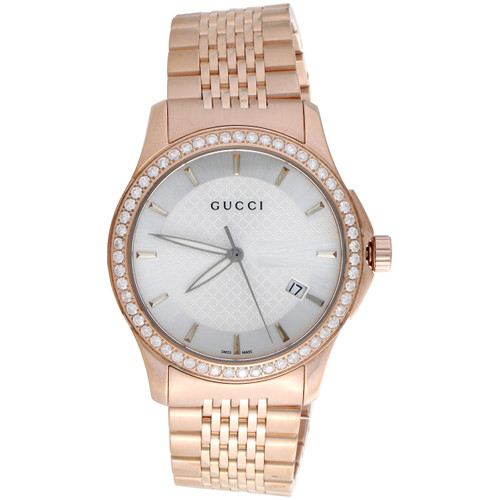 Gucci Ya126401 Diamond Watch White Dial 38mm Stainless Steel Rose PVD 1.75 CT.
