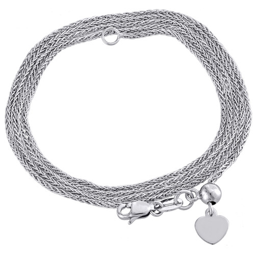"""10K White Gold Adjustable Quadra Wheat Chain Necklace 22"""" Dangling 6mm Heart"""