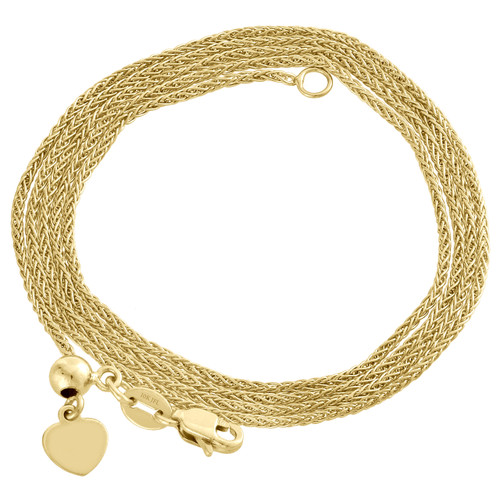 """10K Yellow Gold Adjustable Quadra Wheat Chain Necklace 22"""" Dangling 6mm Heart"""