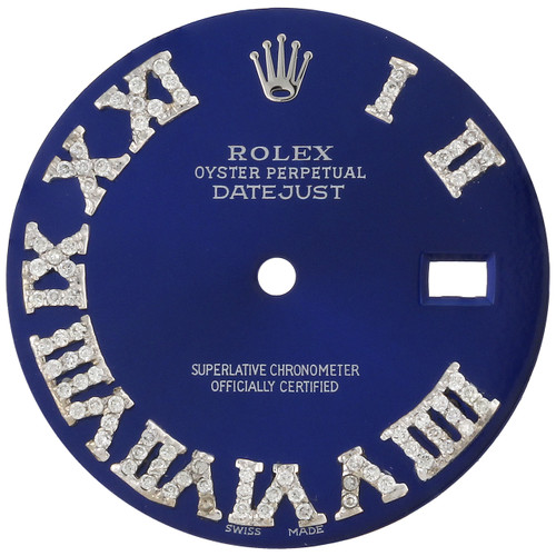 Diamond Roman Numeral Blue Dial to Fit DateJust Rolex 36mm Quick Set 1/2 CT