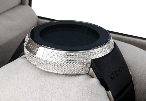 Diamond Gucci I-Gucci Watch Mens Digital YA114202 Black Rubber Band 2.50 CT.