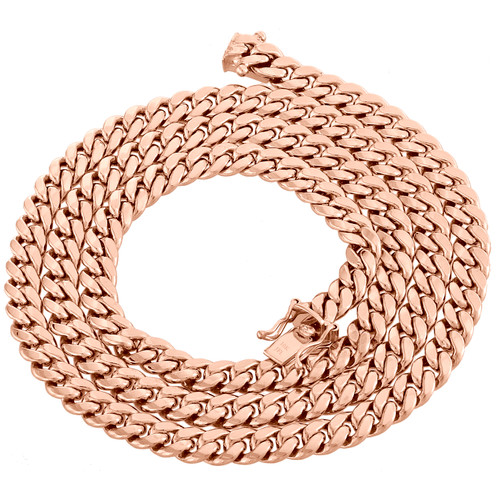 10K Rose Gold 9.25mm Hollow Miami Cuban Link Chain Box Clasp Necklace 18-24 Inch
