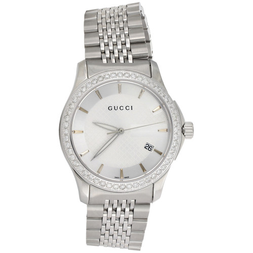 Gucci Ya126401 Genuine Diamond Watch Silver Dial G Timeless 38mm Steel 1.75 CT.