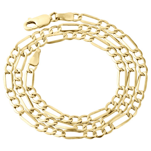 Real 10K Yellow Gold Solid Figaro Chain 4.50mm Necklace Lobster Clasp 16-30 Inch