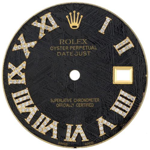 Black Meteorite Diamond Roman Dial To Fit Rolex Datejust 36MM Quick Set 3/4 CT.