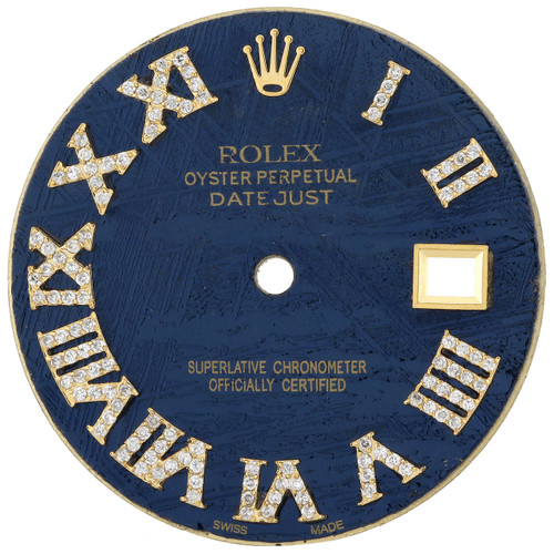 Blue Meteorite Diamond Roman Dial To Fit Rolex Datejust 36MM Quick Set 3/4 CT.