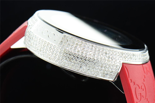 Mens Custom Full Case Digital Red I-Gucci YA114212 Genuine Diamond Watch 2.50 CT
