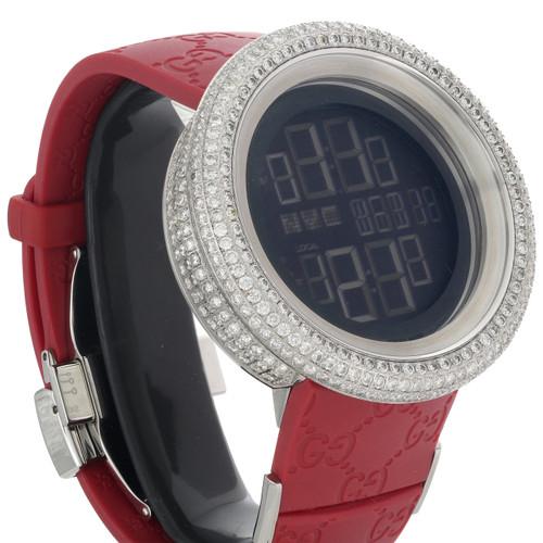 Mens Custom Full Case Digital Red I-Gucci YA114212 Genuine Diamond Watch 9 CT.