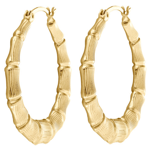"""Real 10K Yellow Gold Round 38mm Bamboo Hoop Earrings For Women 1.50"""""""