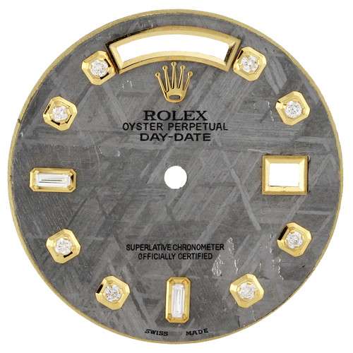 Gray Meteorite Diamond Marker Dial To Fit Rolex Day-Date 36MM Quick Set 1/2 CT.