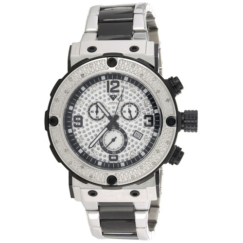 Mens Aqua Master Joe Rodeo Real Diamond Watch Stainless Steel Black PVD 0.20 CT.