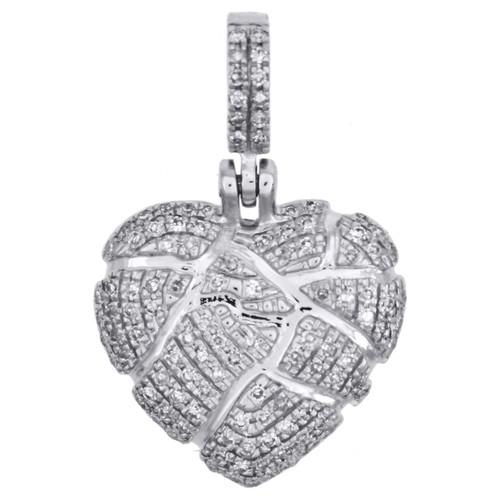 """10K White Gold Diamond Shattered Heart Pendant Broken Love 0.80"""" Charm 0.27 CT"""