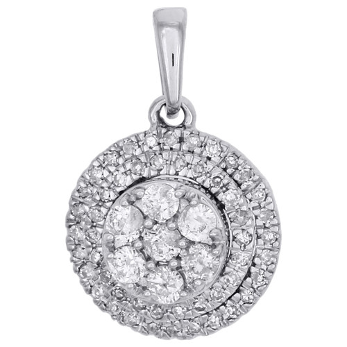 "14K White Gold Diamond Halo Flower Pendant Tiered Circle 0.65"" Charm 0.33 CT."