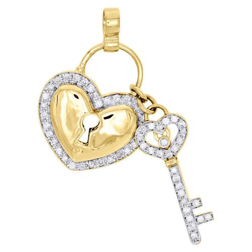 10K Yellow Gold Genuine Diamond Heart Lock Key Pendant Ladies Pave Charm 0.55 Ct