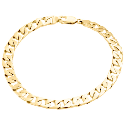 "10K Yellow Gold Solid Textured Miami Cuban Link 7mm Mens Fancy Bracelet 8.50"""