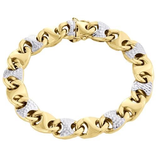 "10K Yellow Gold Two Tone Mens Diamond Cut 11mm Puff Gucci Link Bracelet Clasp 8"""