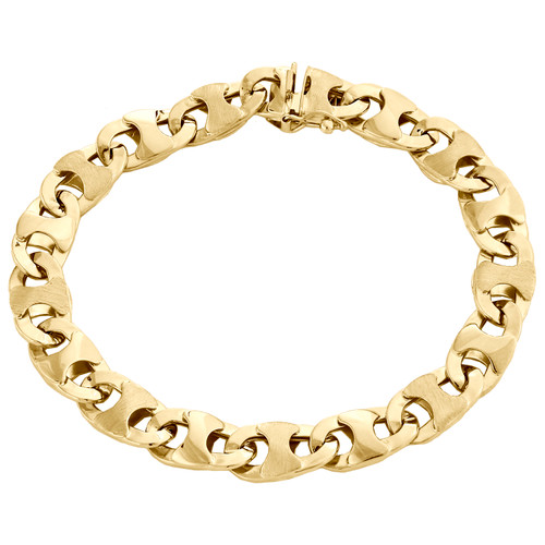 "10K Yellow Gold Mens Diamond Cut 9mm Puff Gucci Link Bracelet Fancy Box Clasp 8"""