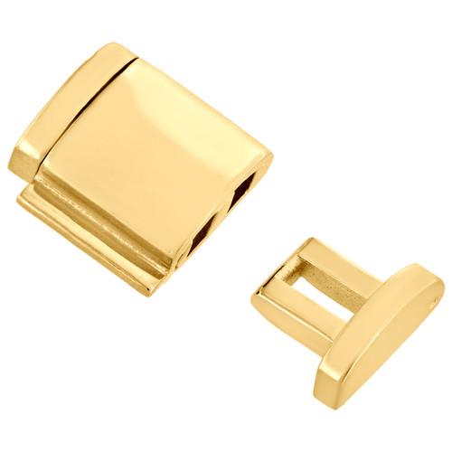 Solid 10K Yellow Gold Miami Cuban Chain / Bracelet 14mm Fancy Box Clasp Lock
