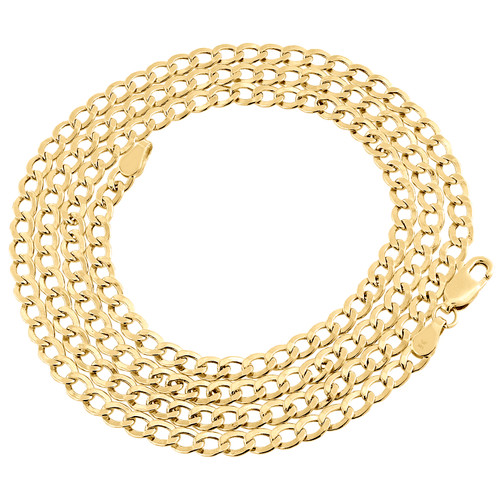 14K Yellow Gold Plain 3.75mm Hollow Curb / Cuban Link Chain Necklace 18-24 Inch