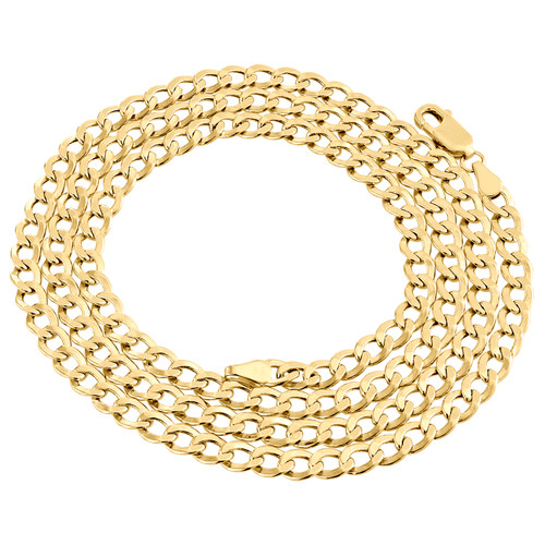 14K Yellow Gold Plain 4.50mm Hollow Curb / Cuban Link Chain Necklace 18-24 Inch