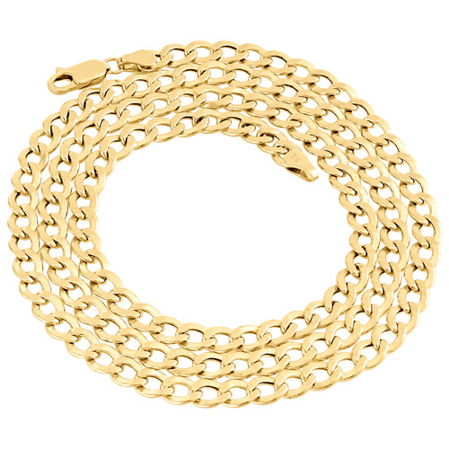 14K Yellow Gold Plain 5.20mm Hollow Curb / Cuban Link Chain Necklace 20-24 Inch