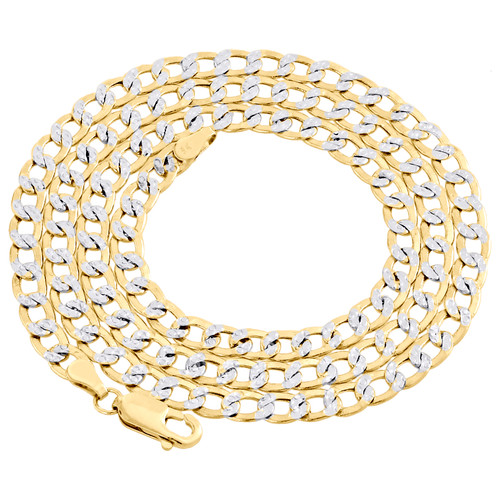 14K Yellow Gold Hollow Diamond Cut 4.50mm Curb Cuban Link Chain Necklace 18-24""