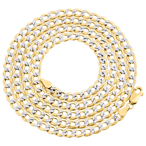 14K Yellow Gold Hollow Diamond Cut 5mm Curb Cuban Link Chain Necklace 20-30 Inch