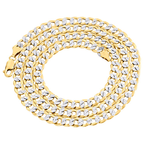 14K Yellow Gold Hollow Diamond Cut 6.50mm Curb Cuban Link Chain Necklace 22-30""