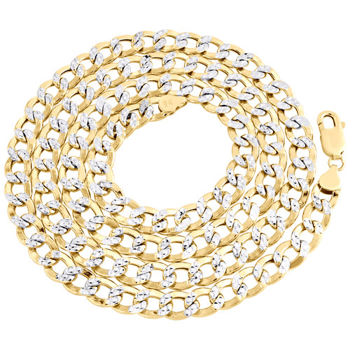 14K Yellow Gold Hollow Diamond Cut 7.75mm Curb Cuban Link Chain Necklace 18-30""