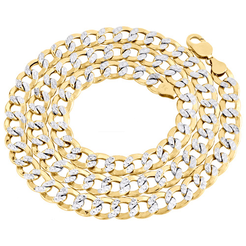 14K Yellow Gold Hollow Diamond Cut 9.50mm Curb Cuban Link Chain Necklace 22-30""