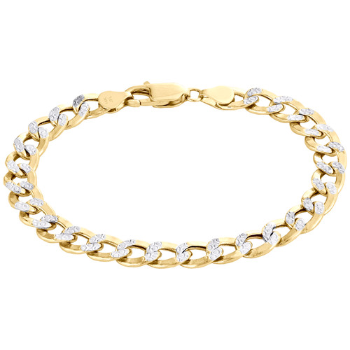 14K Yellow Gold Hollow Diamond Cut 7.75mm Curb / Cuban Link Bracelet 8 - 9 Inch