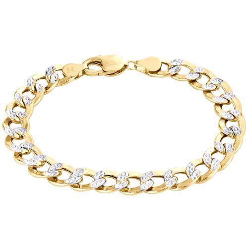 14K Yellow Gold Hollow Diamond Cut 9.50mm Curb / Cuban Link Bracelet 8 - 9 Inch