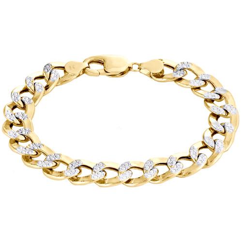 14K Yellow Gold Hollow Diamond Cut 10.75mm Curb / Cuban Link Bracelet 8 - 9 Inch