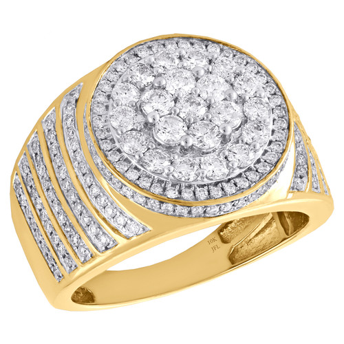 10K Yellow Gold Mens Round Diamond Statement Pinky Ring 17mm Tier Step Band 2 CT