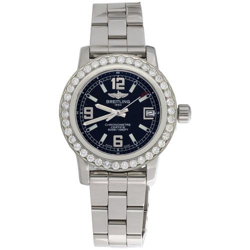 Ladies Breitling Colt 33mm Custom Diamond Watch Ref. # A77387 Black Dial 1.76 CT