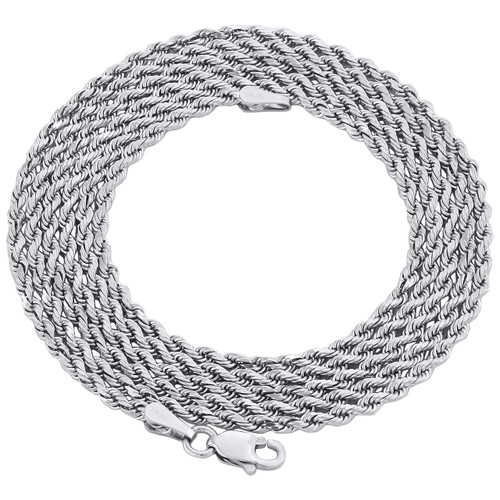 10K White Gold 2.25mm Diamond Cut Solid Rope Link Chain Shiny Necklace 16 Inch