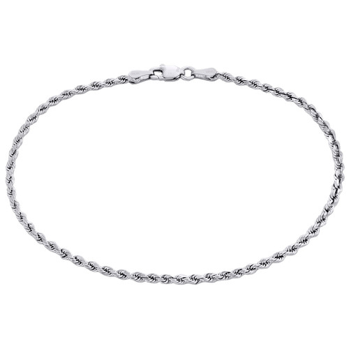 10K White Gold Unisex 1.85mm Diamond Cut Solid Rope Link Shiny Bracelet 7 Inch