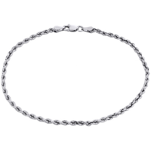 10K White Gold Unisex 2.50mm Diamond Cut Solid Rope Link Shiny Bracelet 8 Inch