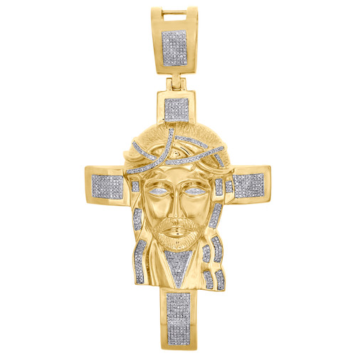 "10K Yellow Gold Mens Extra Large Diamond Jesus Cross Pendant 3.9"" Charm 1.25 CT."