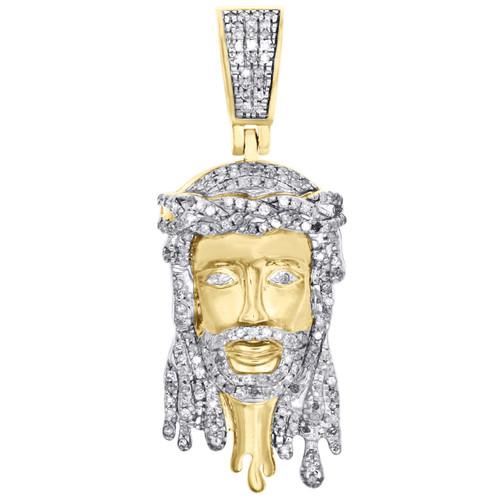 "10K Yellow Gold Diamond Jesus Face Drip Pendant 1.55"" Mens Pave Charm 0.58 CT."