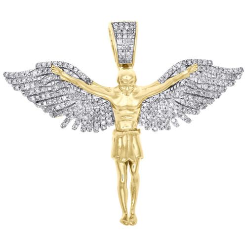 "10K Yellow Gold Mens Round Pave Diamond Flying Angel Pendant 1.50"" Charm 3/4 CT."