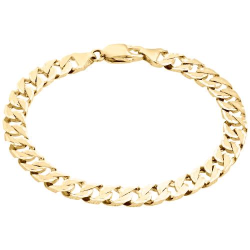 "10K Yellow Gold Brushed Matte Texture Solid Fancy Cuban Link 7mm Bracelet 8.50"""